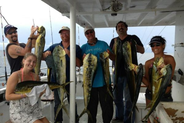 Doug, Sami, Johnny and crew with a nice dolphin catch with Fishing Headquarters